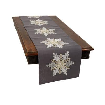 0.1 in. H x 15 in. W x 70 in. D Sparkling Snowflakes Embroidered Double Layer Christmas Table Runner