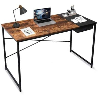 47 in. Black Rectangular Computer Desk With Flip-out Drawer