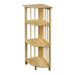 38.75 in. Natural Wood 4-shelf Corner Bookcase