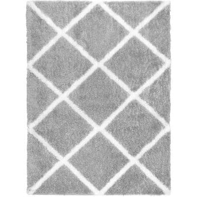 Carmela Gray/Ivory Trellis Shag 8 ft. x 10 ft. Indoor Area Rug