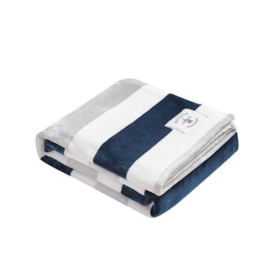 Awning Stripe White Ultra Soft Plush Microfiber Throw Blanket