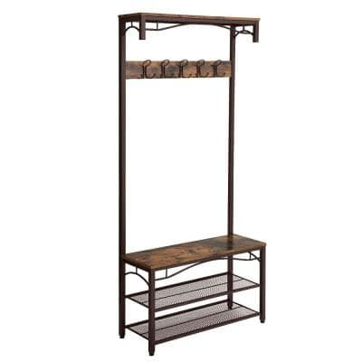 Brown and Black Metal Framed Coat Rack with Wooden Bench and 2-Mesh Shelves