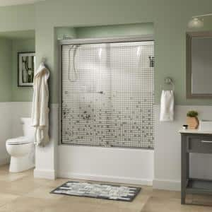 Everly 60 in. x 58-1/8 in. Traditional Semi-Frameless Sliding Bathtub Door in Nickel and 1/4 in. (6mm) Mozaic Glass