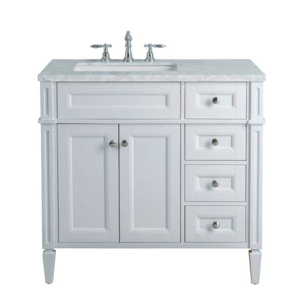 Stufurhome Anastasia French 36 In. White Single Sink Bathroom Vanity With  Marble Vanity Top And White Basin-HD-1524W-36-CR - The Home Depot