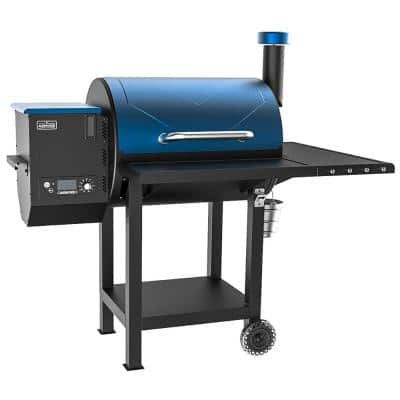 8-In-1 Wood Pellet Grill, 700 sq. in. Large Cooking Area - Includes Waterproof Cover in Tahoe Blue