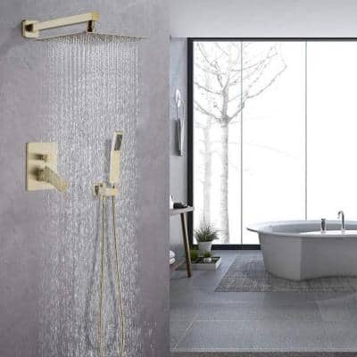 Shower System Wall Mounted with 10 in. Square Rainfall Shower head and Handheld Shower Head Set, Brushed Gold