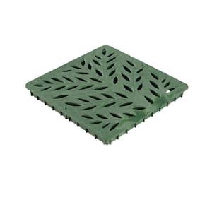 12 in. Square Catch Basin Drain Grate, Decorative Botanical Design, Green Plastic