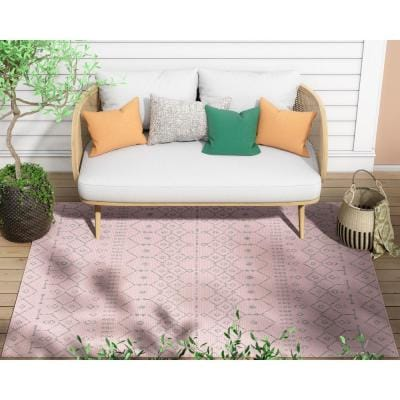 Medusa Nord Blush Moroccan Tribal Indoor/Outdoor 7 ft. 10 in. x 9 ft. 10 in. Area Rug