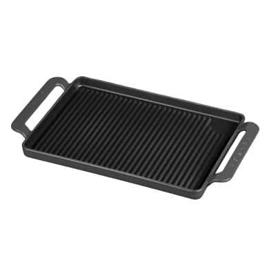 French Enameled 9.75 in. Cast Iron Grill Pan in Caviar Grey
