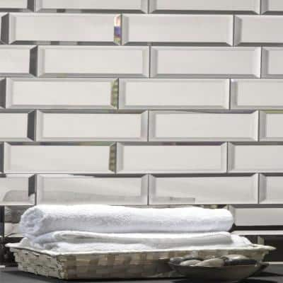 Reflections Beveled Silver 3 in. x 12 in. Peel & Stick Glass Mirror Décor Subway Tile (11 sq. ft. / case)
