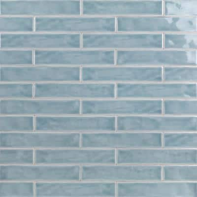 Newport Light Blue 2 in. x 10 in. x 11mm Polished Ceramic Subway Wall Tile (40 pieces / 5.38 sq. ft. / box)