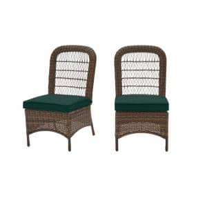 Beacon Park Brown Wicker Outdoor Patio Armless Dining Chair with CushionGuard Charleston Blue-Green Cushions (2-Pack)