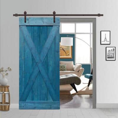 X Series 42 in. x 84 in. Solid Ocean Blue Stained Pine Wood Interior Sliding Barn Door with Hardware Kit