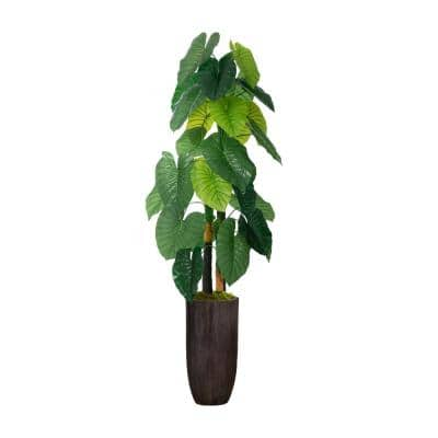 62.25 in. Real Touch Taro Plant in Resin Planter