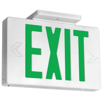11 in. 60-Watt Equivalent White Integrated LED Green Letter Exit Sign with Built-in Battery Backup and Extra Faceplate