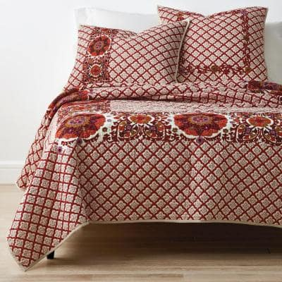 Thornwood Multicolored Geometric Cotton Blend Embroidered Full/Queen Quilt