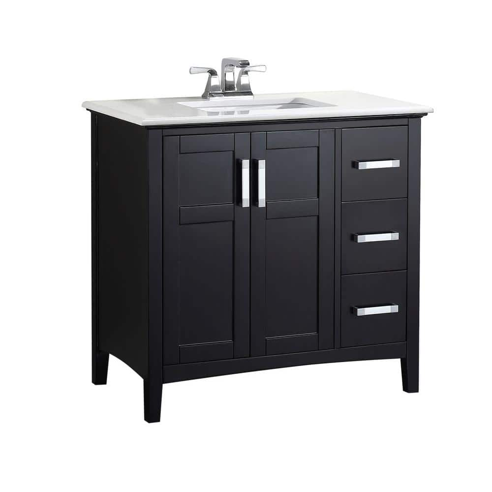 Brooklyn Max Wilshire 36 In Bath Vanity In Midnight Black With Engineered Quartz Marble Vanity Top In Bombay White With White Basin Bmvrwinbl 36 The Home Depot