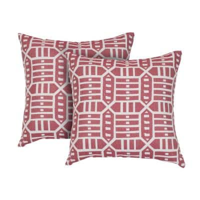 Roland Red Square Outdoor Accent Throw Pillow (Set of 2)