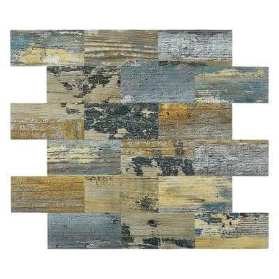 Subway Backsplash Yellow Rust 12 in. x 12 in. PVC Peel and Stick Tile (10 sq.ft./Case)