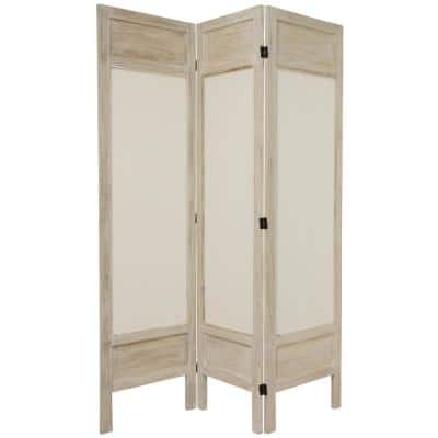 5.5 ft. Burnt White Solid Muslin 3-Panel Room Divider