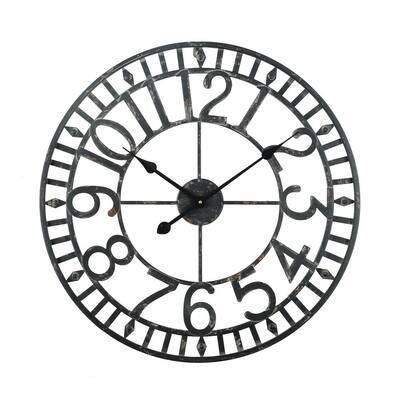 "Manhattan Industrial Wall Clock, Analog, Black, 24"""