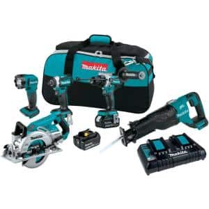 18-Volt 5.0 Ah LXT Lithium-Ion Brushless Cordless Combo Kit (Hammer Drill/Impact Driver/Circ Saw/Recip Saw/Light)