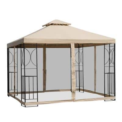 10 ft. x 10 ft. x 9 ft. Steel Frame Outdoor Gazebo with Mosquito Netting and Weather-Resistant Canopy Top, Sand