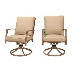 Geneva Brown Wicker Outdoor Patio Swivel Dining Chair with Sunbrella Beige Tan Cushions (2-Pack)