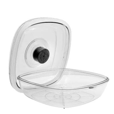 White Kitchen Air Vacuum Sealer Container - Air Sealing Food Canister Accessory (1+ Liter)