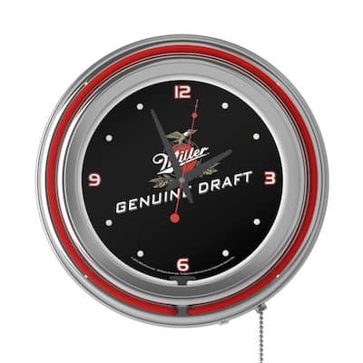 14 in. Miller Genuine Draft Neon Wall Clock