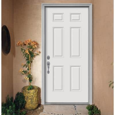 32 in. x 80 in. 6-Panel Primed Premium Steel Front Door Slab