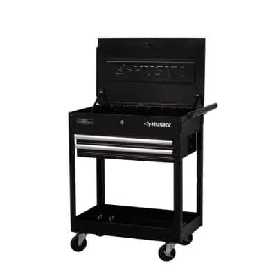 28 in. W 2-Drawer Tool Utility Cart in Gloss Black with Lift-Top