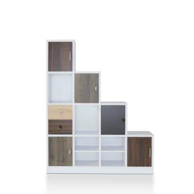 Calenan 61.5 in. White Faux Wood 11-shelf Cube Bookcase with Doors
