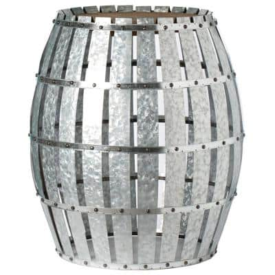 Round Wooden Rustic Wood and Galvanized Metal Barrel Shaped Side Table, Riveted Metal Strips