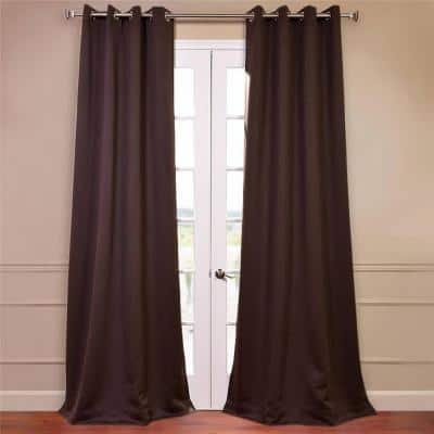 Semi-Opaque Java Brown Grommet Blackout Curtain - 50 in. W x 84 in. L (Panel)