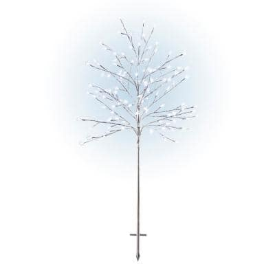 58 in. Tall Frosty Christmas Snowflake Tree with Cool White LED Lights