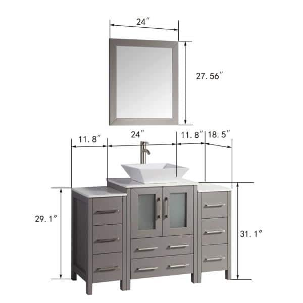 Vanity Art 48 In W X 18 5 D 36, What Size Mirror For A 48 Vanity