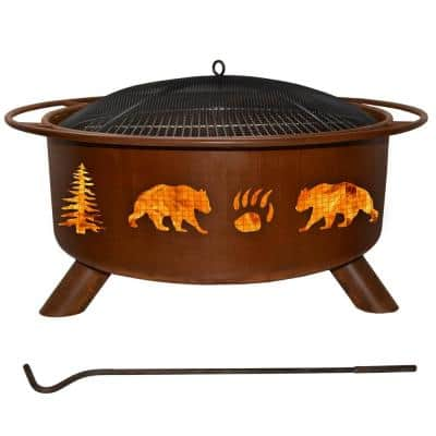 Bear and Trees 29 in. x 18 in. Round Steel Wood Burning Fire Pit in Rust with Grill Poker Spark Screen and Cover