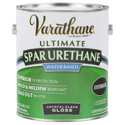 1 gal. Clear Gloss Water-Based Exterior Spar Urethane (2-Pack)