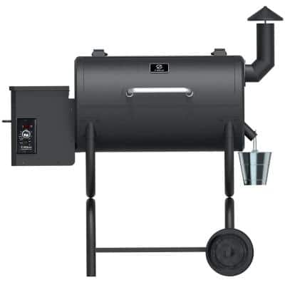 538 sq. in. Wood Pellet Grill and Smoker 7-in-1 BBQ in Black