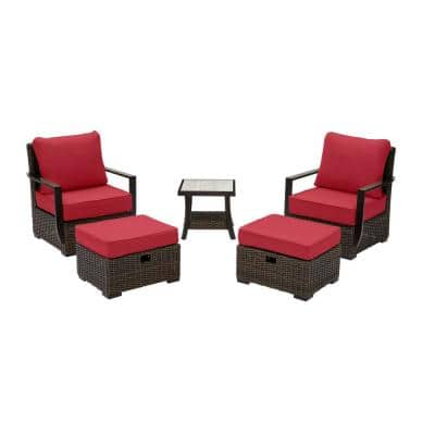 Whitfield 5-Piece Dark Brown Wicker Outdoor Patio Bistro Set with CushionGuard Chili Red Cushions