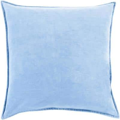 Velizh Light Blue Solid Polyester 18 in. x 18 in. Throw Pillow