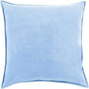 Velizh Light Blue Solid Polyester 22 in. x 22 in. Throw Pillow
