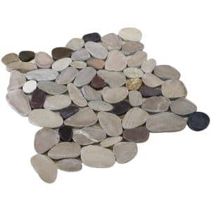 12 in. x 12 in. Tan, Brown and Cherry Honed Sliced Pebble Floor and Wall Tile (5.0 sq. ft. / case)