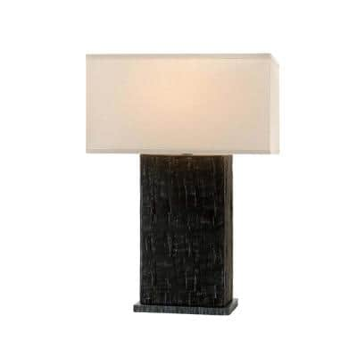 La Brea 27 in. Anthracite Table Lamp with Off-White Linen Shade