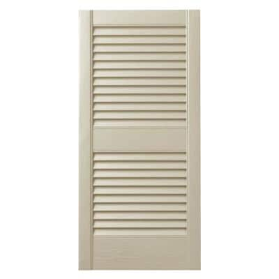 15 in. x 43 in. Open Louvered Polypropylene Shutters Pair in Sand Dollar