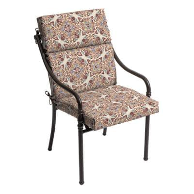 21.5 in. x 24 in. Chili Medallion Outdoor High Back Dining Chair Cushion