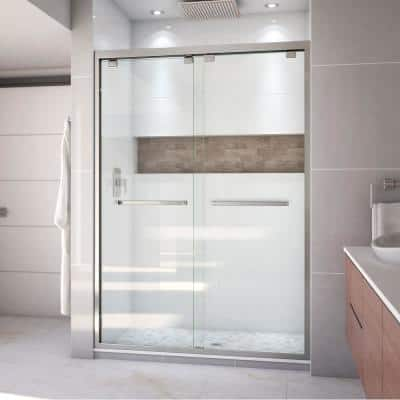 Encore 50 in. to 54 in. x 76 in. Semi-Frameless Bypass Shower Door in Brushed Nickel