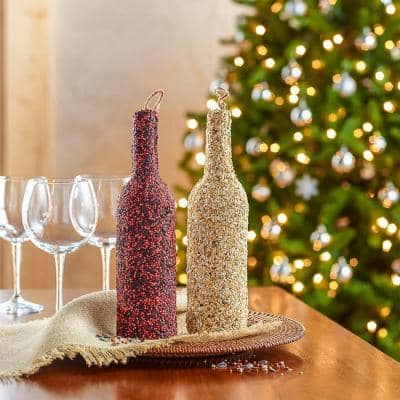 Backyard Wine Bottle Shaped Birdseed with Burlap Hanger (2-Pack)
