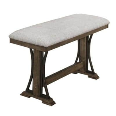 25 in. Brown and Gray Counter Height Fabric Upholstered Bench with Trestle Base